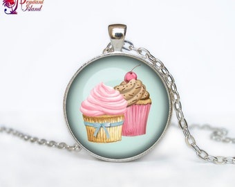 Cupcake necklace cupcake necklace pendant cupcake jewelry kawaii necklace