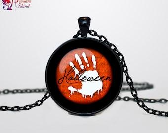 Halloween necklace Trick or Treat Halloween Pendant Halloween  jewelry black orange