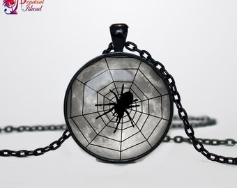 Spider necklace Spider pendant Spider necklace Halloween jewelry Trick or Treat Halloween Pendant Halloween  jewelry black grey