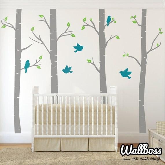Nursery birch trees with birds wall stickers decals by for Birch tree mural nursery