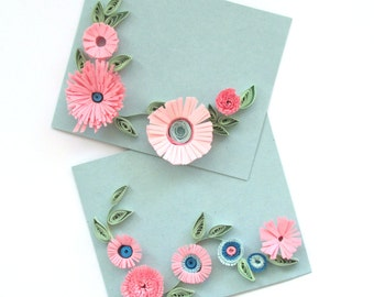 Quilling Spring Pink Flower Card Set, Set of 2 Greeting Cards with Quilled Flowers