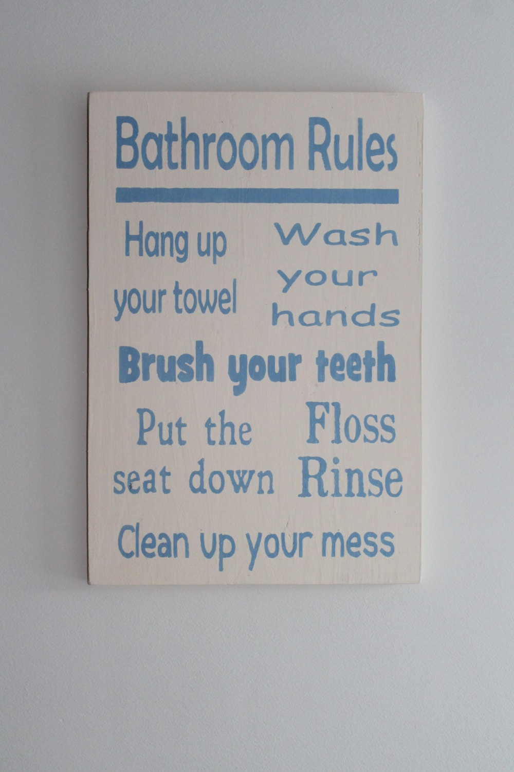 Bathroom wall art bath rules wood sign kids bathroom art for Bathroom decor rules