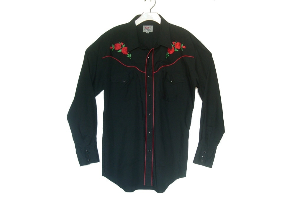 Vintage western shirt embroidered roses large by happy find
