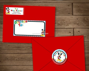 Mickey Mouse Address Labels and Envelope Seal - Clubhouse Mickey Envelope Lables - Mickey Invite Party Pack - My Celebration Shoppe - Invite