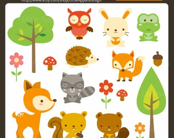 Clip Art Cute Animal Clipart cute animals clipart etsy woodland animal clip art forest owl clipart