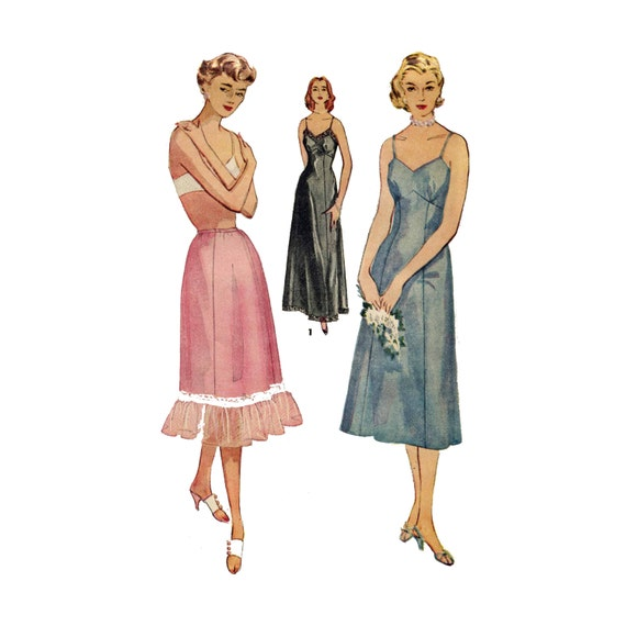 1950s Slip Pattern  - Tailored, Full Length or Half - Vintage Sewing Pattern - Bust 44 - Simplicity 4470