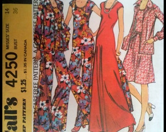 McCall's 4250  Misses' Dress or Top, Unlined Jacket And Pants  Size 14  UNCUT