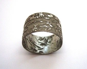 etched and oxidized sterling silver wide band ring