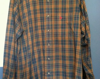 SALE ITEM: Vintage 80s Knights of Round Table Plaid Button Up Shirt