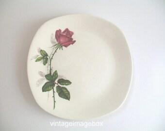 Midwinter Pottery plate, Fashion Rose design, vintage tableware 1960s, pink flower decor