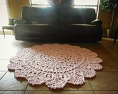 Items Similar To Crochet Doily Rug Soft Pink Light Pink