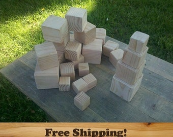 24 Fir Wood Blocks, All Natural Unfinished baby blocks, baby shower activity, Sanded Edges, 3, 2.5, 2, & 1.5 Inch Square Wood Block Set