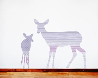 Deer Wall Decals - Deer Fabric Wall Decals Purple