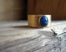 Brass Denim Lapis Ring Man's Hammered Wedding Band