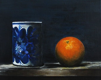 """Kitchen Still Life Original Food Painting FREE SHIPPING Tangerine and Jar 7,87""""x7,87"""" Acrylics on canvas"""