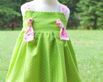 Pink and Lime Green Polka Dot Knot Dress--READY TO SHIP Size 18 to 24 months