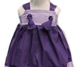 Purple Polka Dot Pastel Glitter Stripe Knot Dress--READY TO SHIP Size 12 - 18 months
