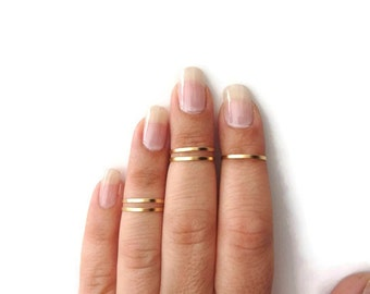 5 Above the Knuckle Rings - Plain Band Knuckle Rings, Matte gold thin rings - set of 5 midi rings, unique gift for her