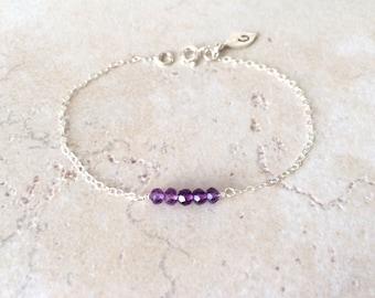 February, Amethyst Bracelet, Birthday, Gemstone, Gift, Birthstone, Personalized Jewelry, Bracelet, LIJ 13067