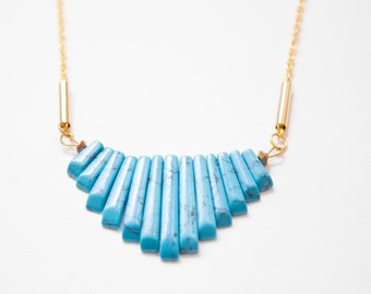 Turquoise Fan Necklace with Brass Tubes