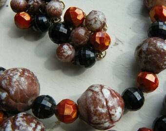 Vintage Beaded Necklace & Earrings