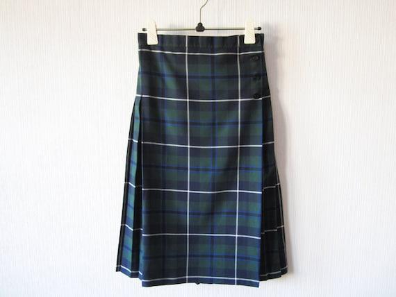 blue green scottish skirt tartan plaid by vintagedreambox