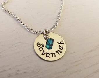 Single Disc Personalized Necklace with Swarovski Birthstones-Mother's Day Gifts