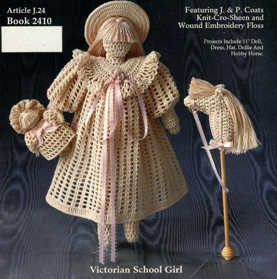 Baby Dress Crochet Pattern Victorian : CROCHET VICTORIAN 11 DOLL Pattern Book School Girl