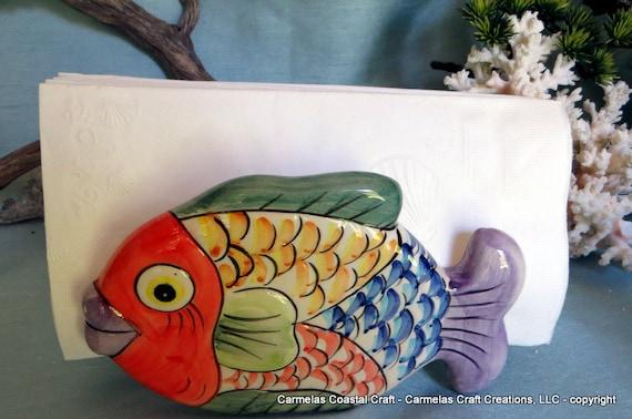 Colorful Ceramic Tropical Fish Vintage Napkin Holder