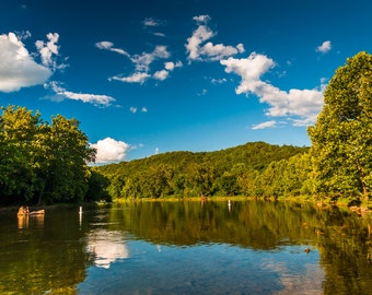 Reflection of trees and clouds in the Shenandoah River, Virginia.  - Nature Photography Fine Art Print or Wrapped Canvas
