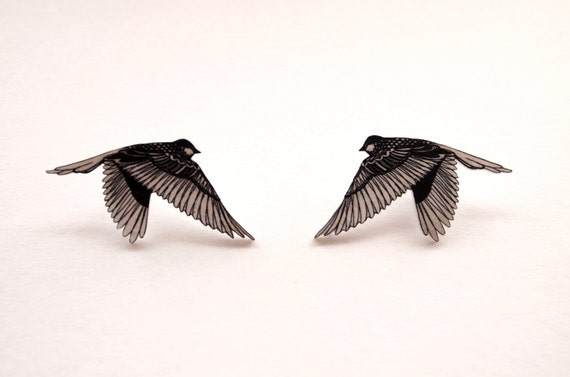 Bird brooches - Double Love pins (2 pieces)