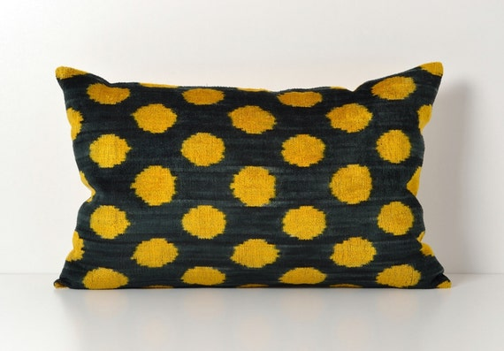 ikat silk velvet pillow dark green yellow polka dots