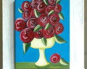 Over the Top, Red Roses in Pedestal Bowl, Original Still Life Acrylic Painting, 8x10
