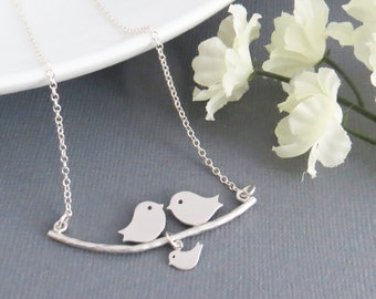 Bird Family Necklace, Lovebirds Necklace, Holiday Gift, Christmas Gift, Lovebirds Pendant, Necklace for Her,  Necklace for Mom,