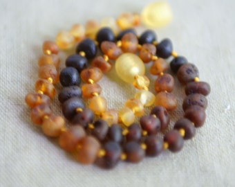 RAW Baltic Amber Teething Necklace for your Baby dark , cognac and honey amber