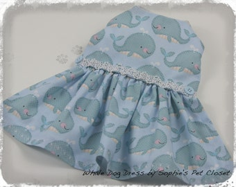 Dog Dress - Whale Dog Dress - Spring Dog Dress,Pet Clothes,Dog Apparel,Dog Clothes,Pet Clothing,Doggie Clothes,Pet Dress