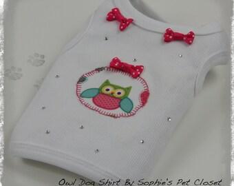 Owl Dog Shirt - XS, S, M..... Dog Shirt, Pet Shirt, Pet Clothes, Pet Clothing, Dog Apparel, Spring Pet Clothes, Pet Summer Clothes