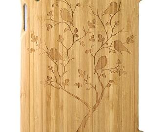 Natural Bamboo iPad 2,3,4 case, Birds in tree design, UK