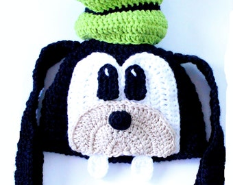Crochet Pattern Goofy Hat, Goofy Hat Newborn to Adult Hat Pattern Character Beanie