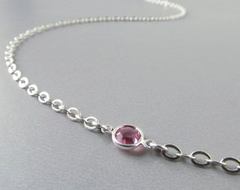 Silver Eyeglass Holder Chain - Pink Crystals - Reading Glasses Chain - Glasses Lanyard - Silver Eyeglass Chain - Eyeglass Necklace - Links