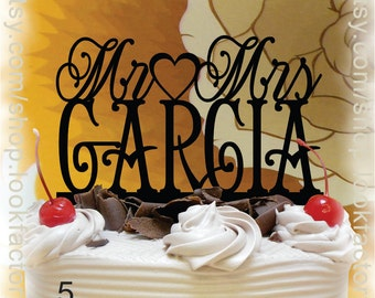Mr and Mrs Wedding Cake Topper With Your Family Name(Last Name) - Custom Made Monogram Cake Topper
