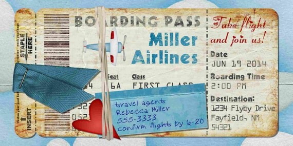 Flugzeug-Bordkarte Einladung zur Geburtstagsfeier Bon Voyage