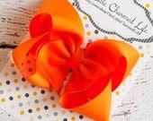 Orange Hair Bow, Orange Hairbow, Orange Boutique Hair Bow, Orange Bow, Orange Hair Clip, Fall Hair Bow, Summer Hair Bow