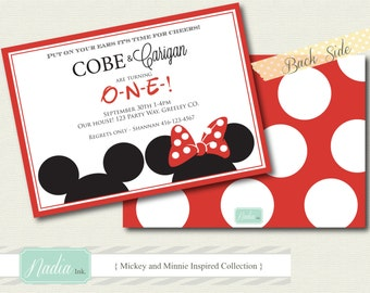 DIY Printable Twin Birthday Double Sided Invitations - Mickey and Minnie Inspired Collection