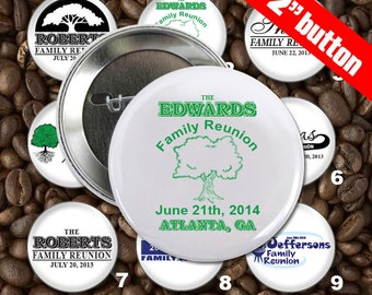 5 Family Reunion Personalized Custom 2 inch Pin Back Button Set - Wholesale Pricing