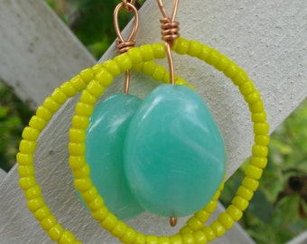 UPDATED Yellow hoop earrings with Grayed Jade stone