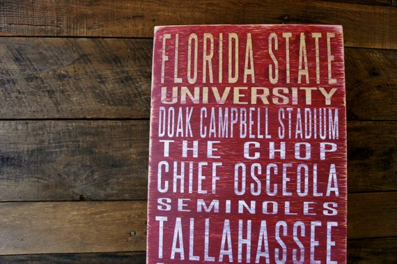 Florida State University Distressed Wood Sign--Great Father's Day Gift!