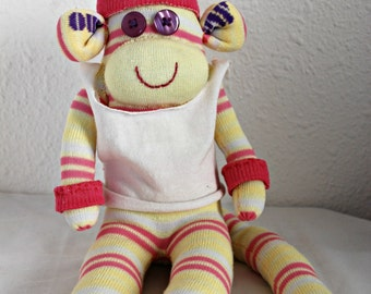 gymnestic sock monkey, yellow sock monkey, stuffed animal, sporty monkey - yellow with pink and white stripes