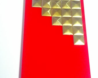 Studded RED iPhone 4 Case, Gold Studded iPhone, Studded Step iPhone 4S Case, Mint Green, Pyramid Studs iPhone 4S Cover (MORE COLORS Msg Me)