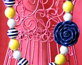 Navy Yellow and White Bubble Gum Necklace with Navy Blue Flower